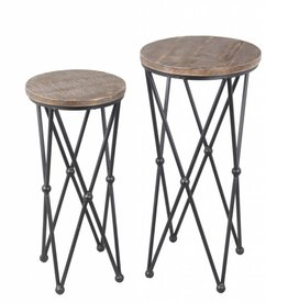Privilege Small Round Plant Stand--Wood/Iron (small one only)