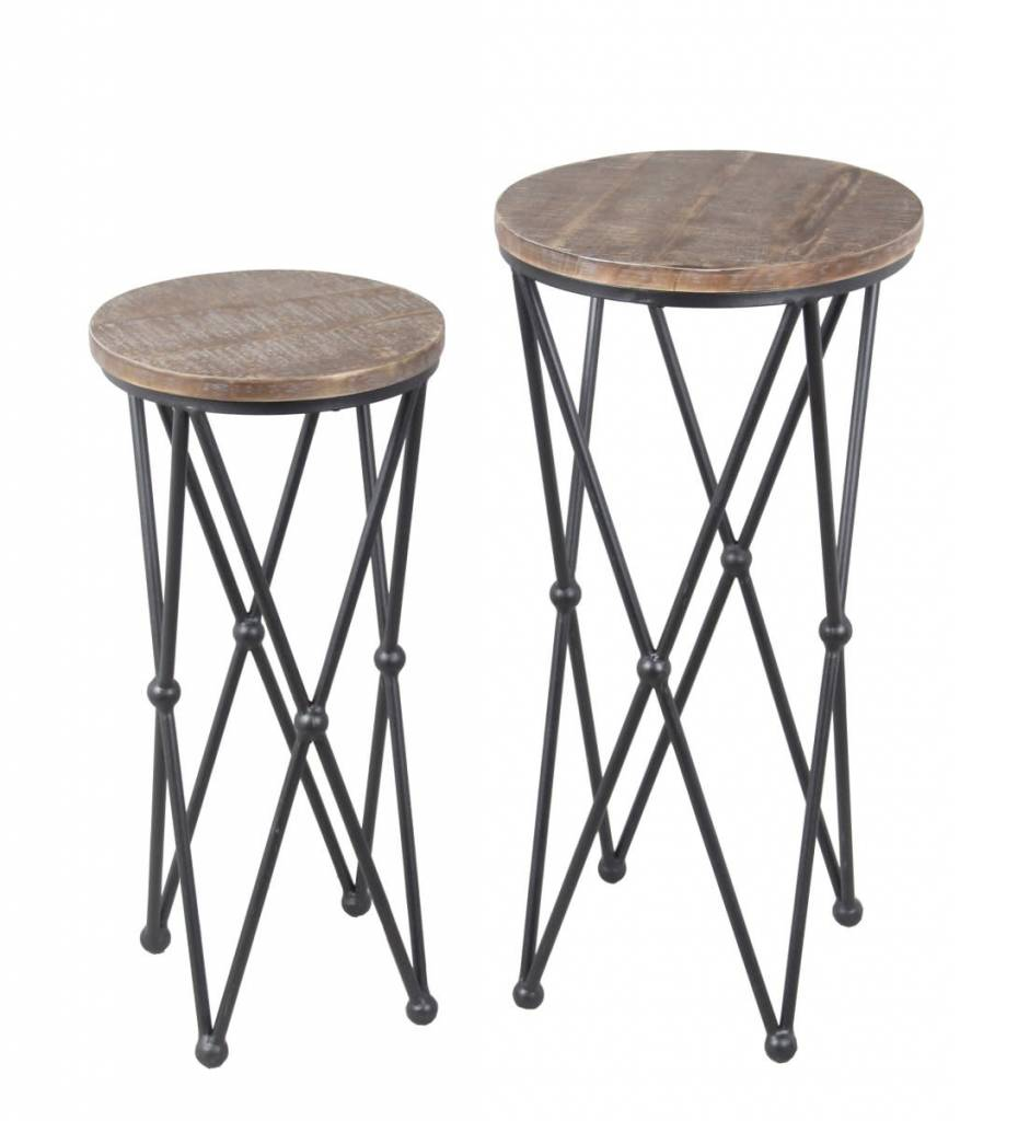Privilege Small Round Plant Stand  Wood/Iron (small One Only)