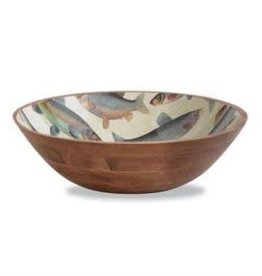 Fish Decal Wood Bowl