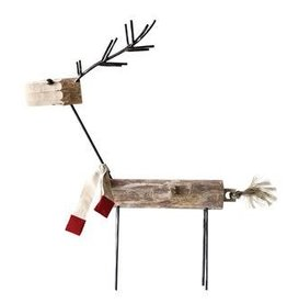 Wood and Metal Reindeer W/Scarf--36""