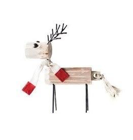 Wood and Metal Reindeer W/Scarf--16""
