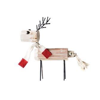 """Wood and Metal Reindeer W/Scarf--16"""""""