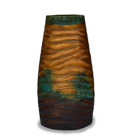 """Red Label Home Turquoise Cobre Wave Jar/41""""H"""