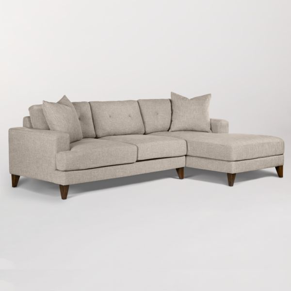 Sidney Sectional in Twill Stone and Driftwood