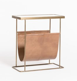 Stanton Accent Table--Tanned Umber/Antique Brass