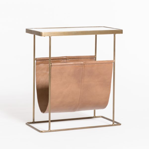 Stanton Accent Table  Tanned Umber/Antique Brass