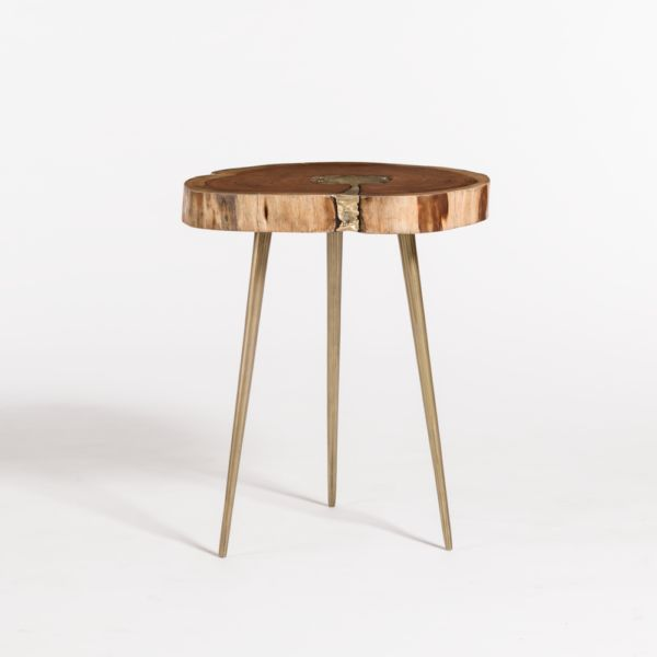 Vail Molten End Table--Natural Finish/Bronze Fill