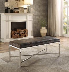 Homelegance Qirin Alligator Embossed Bi-cast Vinyl Metal Bench
