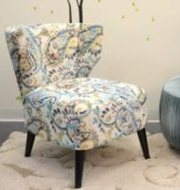 Cristen KD Fabric Accent Chair Black Legs, Mazarine Paisley