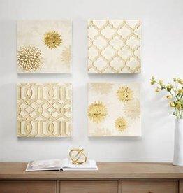 Gilded Grandeur Canvas Art with Gold Foil 4 Piece Set