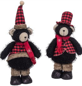 "17""h Fabric Standing Black Bear Couple"