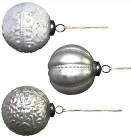 "4"" White Mercury Glass Ball Ornament--Set/3"