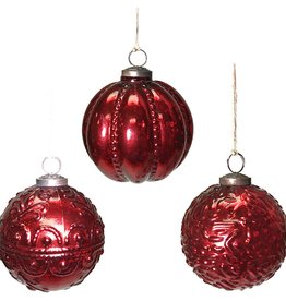 "4"" Red Mercury Glass Ball Ornament--Set/3"
