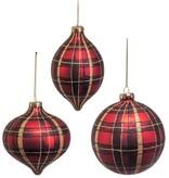 "5.25"" Glass Red/Black/Gold Plaid Ornaments--Set/3"