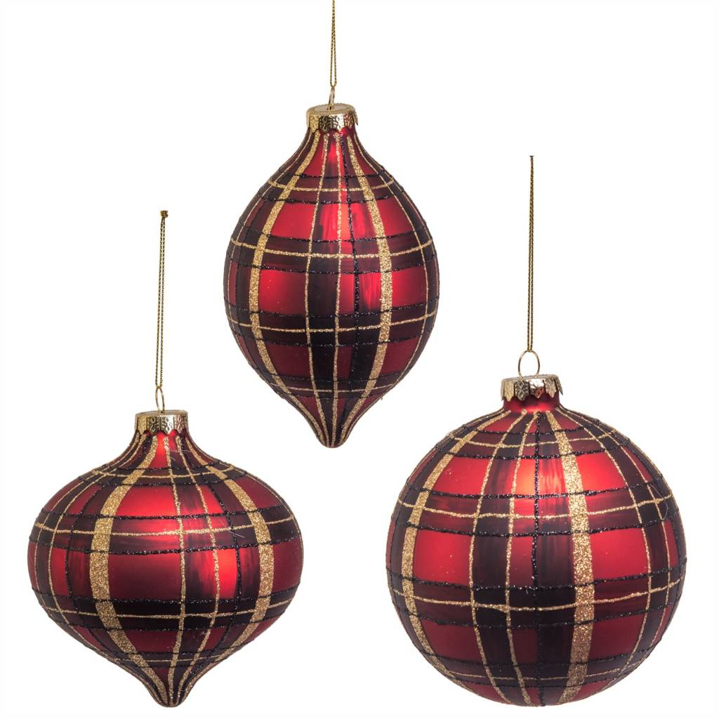 "5.25"" Glass Red/Black/Gold Plaid Ornaments--Set/3"