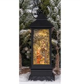 "12.25""h LED Water Spinning Black Lantern w/Nativity"