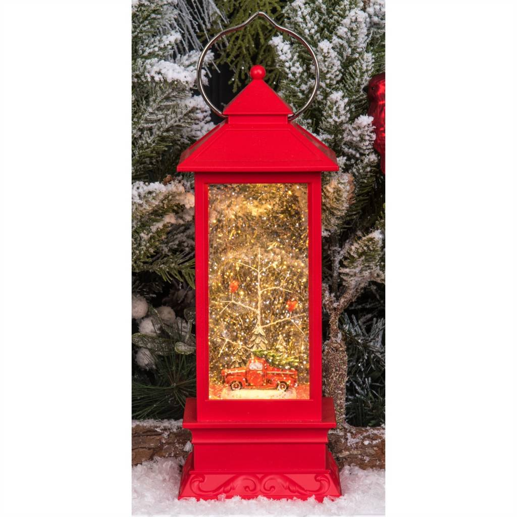 "12.25""h LED Water Spinning Red Lantern w/Truck & Tree"