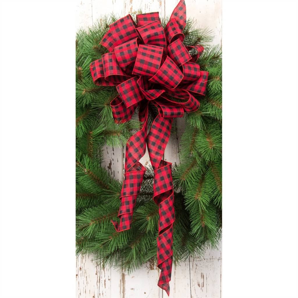 "2.5""x10yard Burlap Red/Black Checker Ribbon"