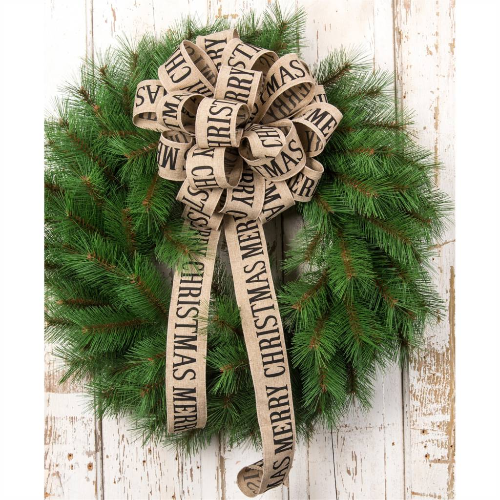 "2.5""x10yard Burlap Merry Christmas Ribbon"