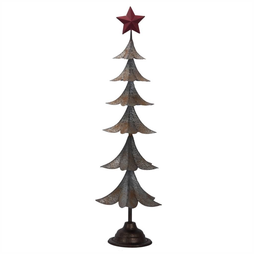 "31.75""h Metal Tin Tree/Red Star Top"