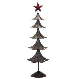 "26""h Metal Tin Tree/Red Star Top"