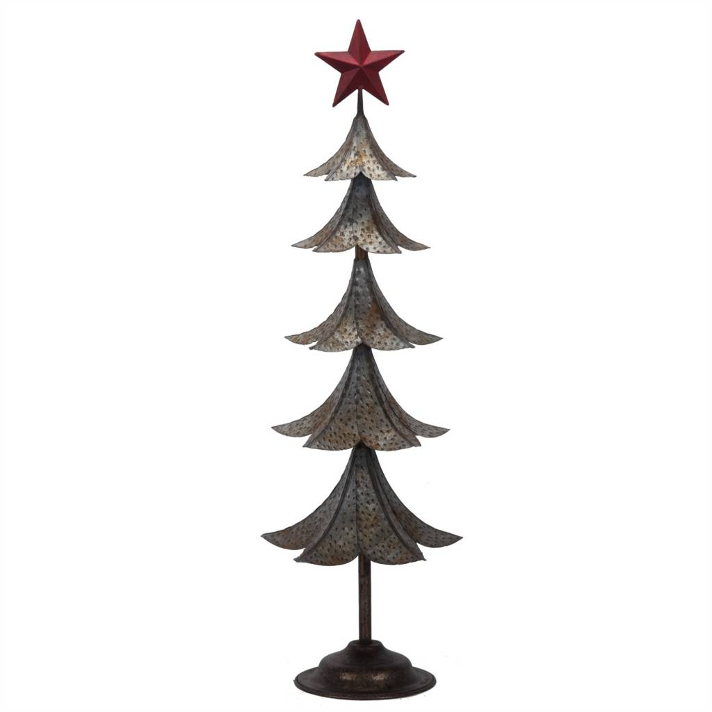 "26""h Metal Tin Tree/Red Star Top"
