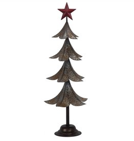 "21.5"" Metal Tin Tree/Red Star Top"