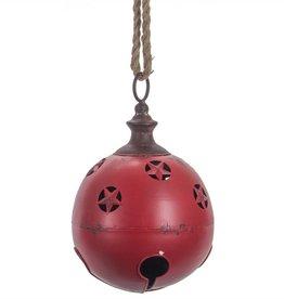 "8"" Metal Red Jingle Bell w/Star Cutouts"