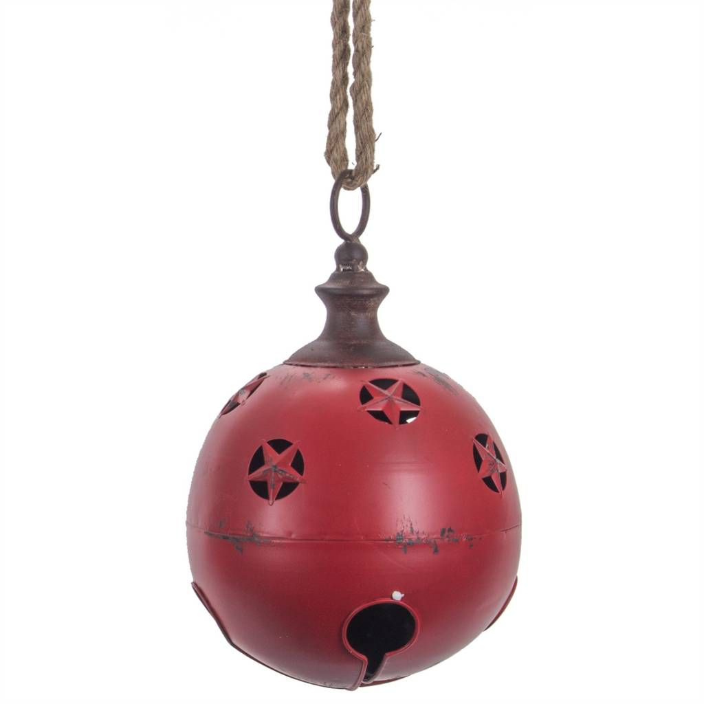 "9.5"" Metal Red Jingle Bell w/Star Cutouts"