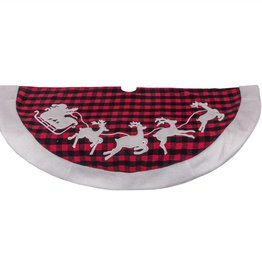 "48"" Plaid Tree Skirt W/ Santa and Reindeer"