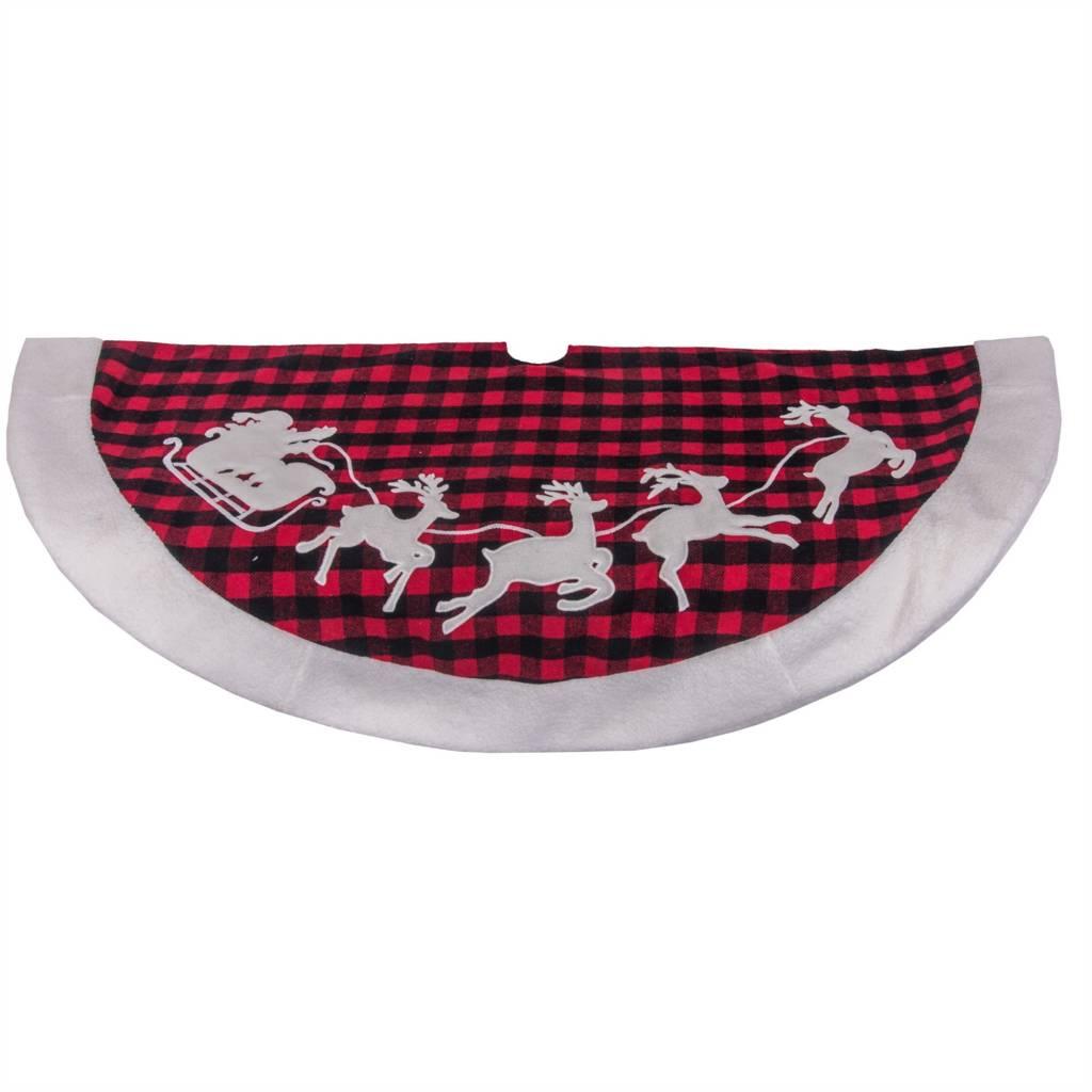 """48"""" Plaid Tree Skirt W/ Santa and Reindeer"""