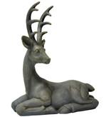 """19.25""""h Resin Gray Laying Deer"""