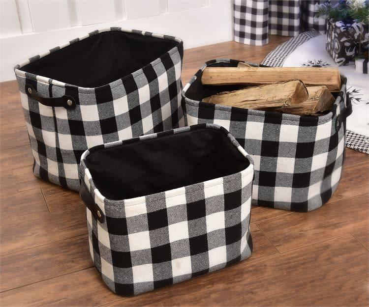 Black Plaid Storage Baskets, Set/3