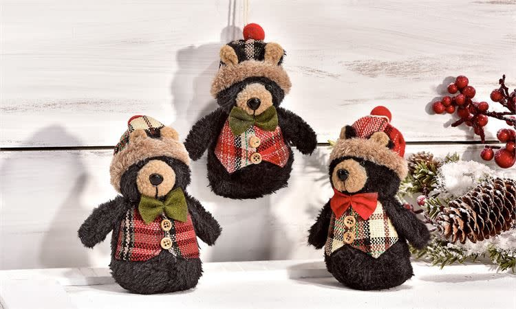 Black Bear Ornament, 3 asst--choice of one