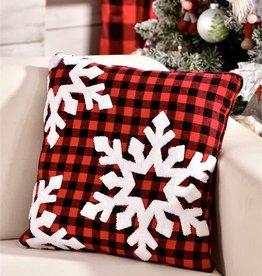 Plaid Snowflake Design Pillow