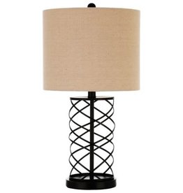 Coaster Table Lamp with Twisted Bronze Base