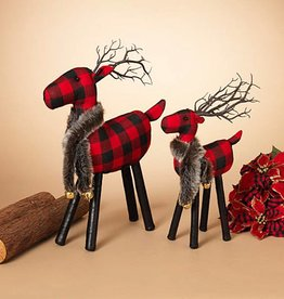 Plush Plaid Deer Figurine--Set/2