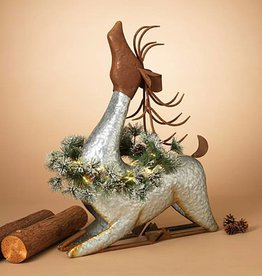 """29.9""""H Lighted Galvanized Metal Deer w/ Wreath and Timer"""