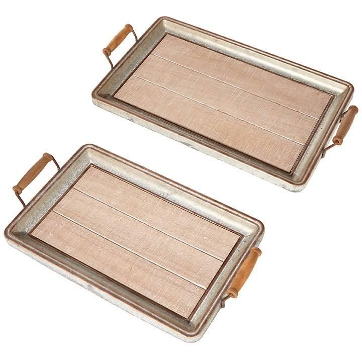 Raz Imports Trays With Wood Bottoms  Set/2