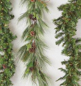 Raz Imports Lighted Green Pine Garland W/Remote--9'