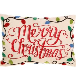 Raz Imports Merry Christmas Pillow W/Christmas Bulbs