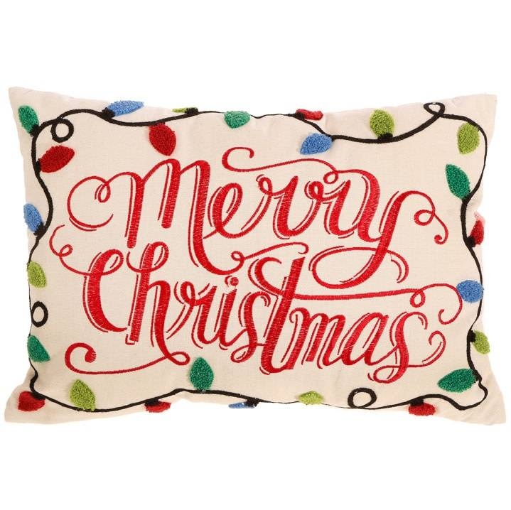 Raz Imports Merry Christmas Pillow W/Christmas Bulbs