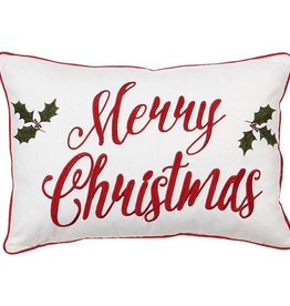 Raz Imports Merry Christmas Pillow W/Holly Leaves