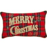 Raz Imports Plaid Merry Christmas Pillow