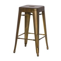Metropolis Metal Backless Counter Stool--Brushed Copper