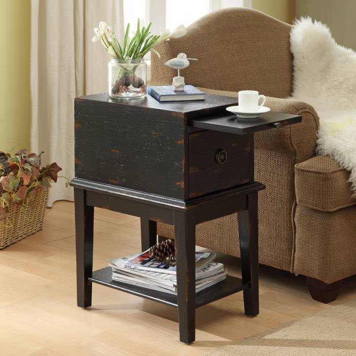 Coast To Coast Imports Bayport Black 1 Drawer Console