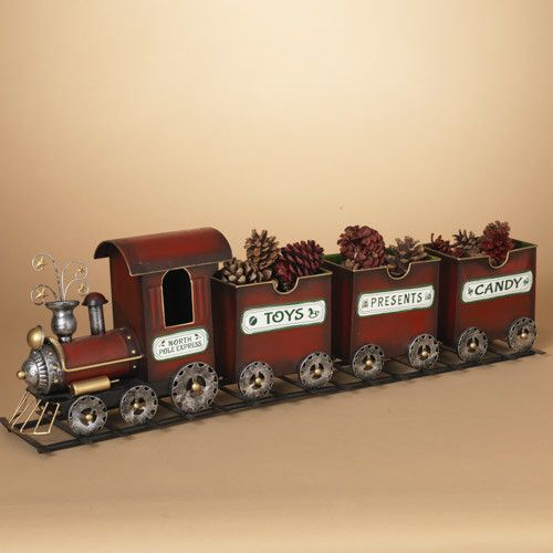 "37.5""L Metal Holiday ""North Pole Express"" Train on Track"