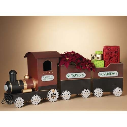 "30""L Metal Holiday ""North Pole Express"" Train w/ Gear Wheels"