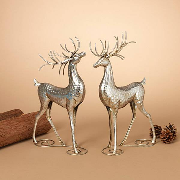 "16""H Silver Metal Deer Figurine, 2 Asst--choice of one"