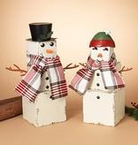 "23.5""H Wood Snowman Figurine--2 asst--choice of one"
